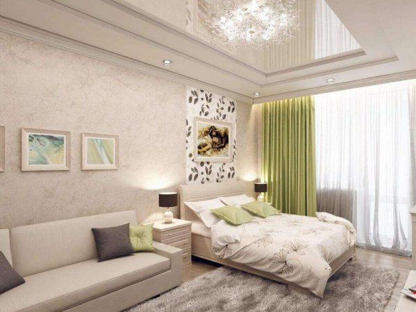 спальня с гостиной в одной комнате
