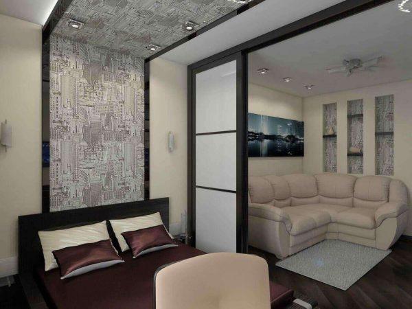 спальня с гостиной с раздвижными дверями