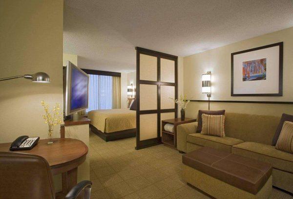 спальня с гостиной с полупрозрачной перегородкой