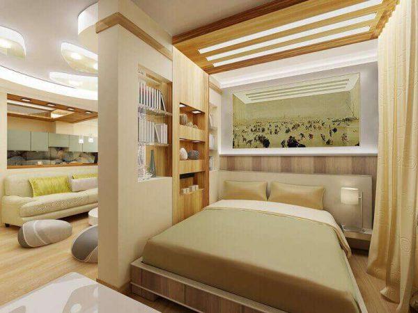 спальня с гостиной с перегородкой с полками