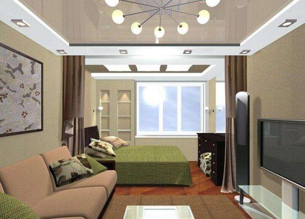 спальня с гостиной с перегородкой шторами