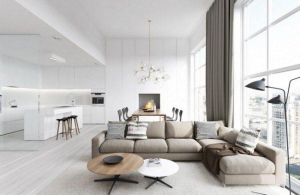 мебель в минималистическом стиле для современной гостиной