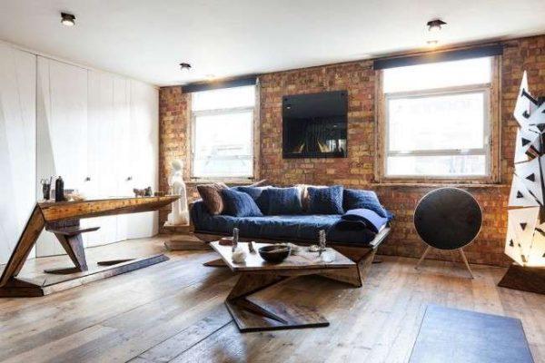 современная мебель в гостиной в стиле лофт