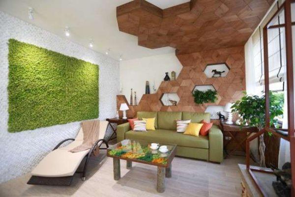 мебель в современной гостиной в эко стиле