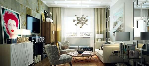 мебель поп арт в современной гостиной