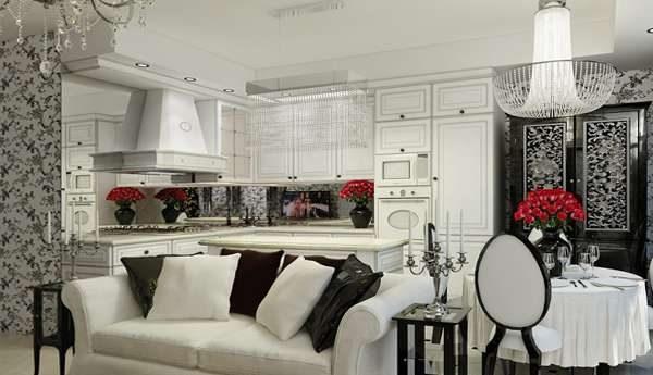чёрно-белая мебель в современной гостиной