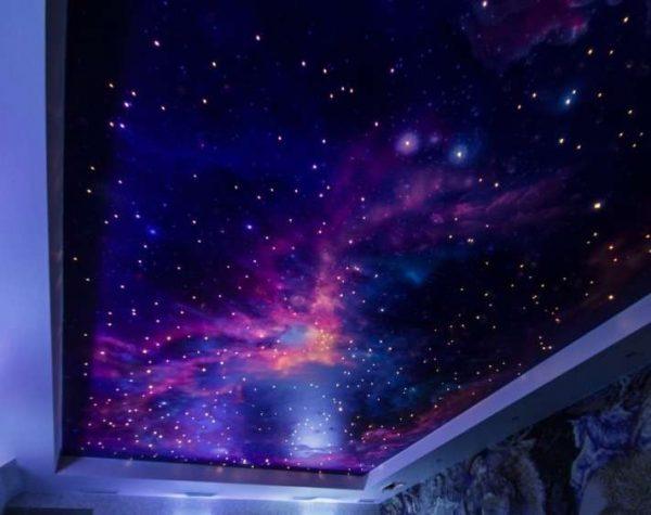 натяжной потолок в гостиной звёздное небо