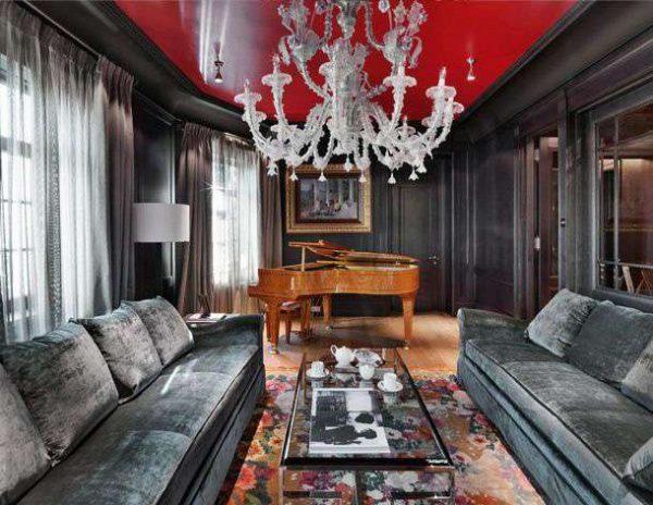 натяжной потолок красный и чёрный