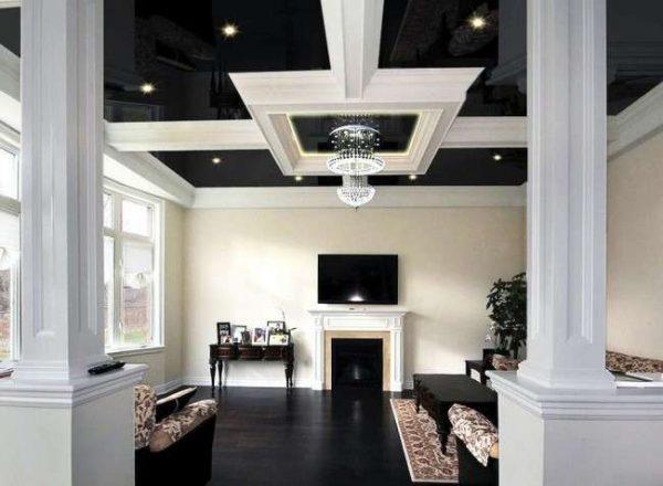 натяжной потолок для гостиной чёрного цвета
