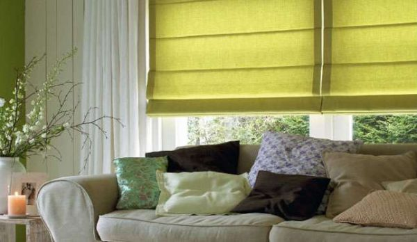 Лаконичные римские шторы в гостиной