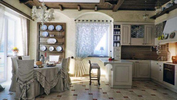 шторы в интерьере гостиной в деревенском стиле