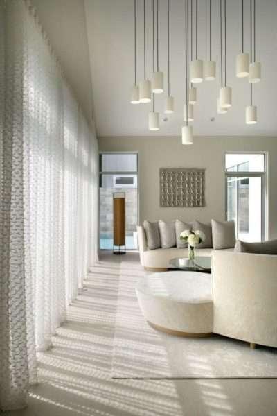 полупрозрачные шторы в интерьере гостиной