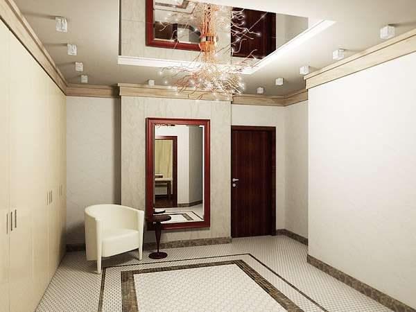 белый многоуровневый потолок с зеркалом в прихожей