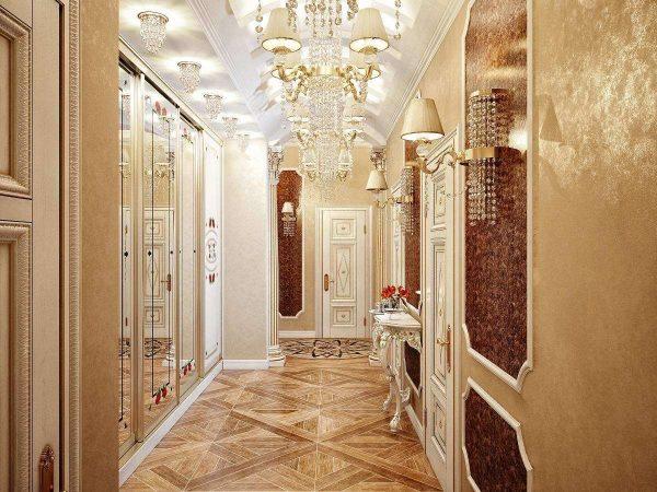 потолок из гипсокартона в коридоре в классическом стиле
