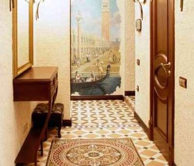 плитка на полу с узорами в прихожей в английском стиле