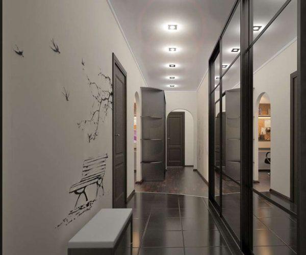 рисунок на стенах в прихожей в квартире