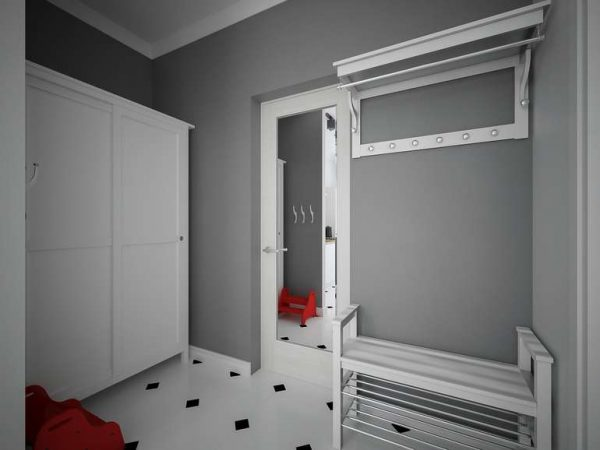 белый шкаф в прихожей в скандинавском стиле