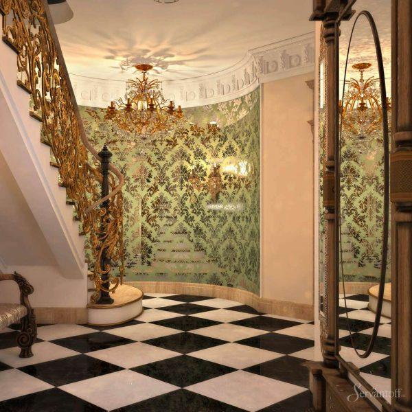 полы в шахматном порядке в прихожей в стиле барокко