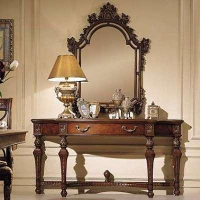 зеркало с настольной лампой для прихожей в стиле барокко