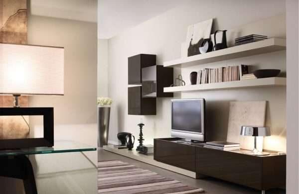 Шкаф в гостиную в современном стиле минимализм