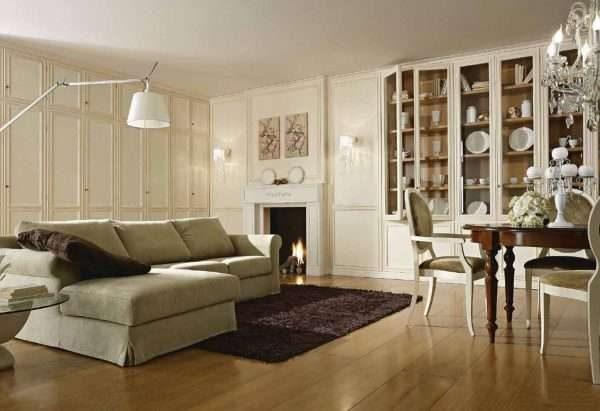 шкаф в классическом стиле в гостиной