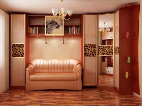 угловой шкаф в гостиной в восточном стиле