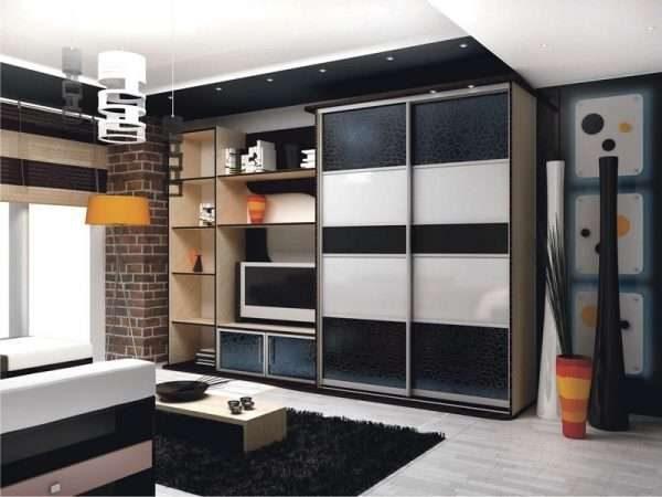 шкаф с телевизором в гостиной в современном стиле