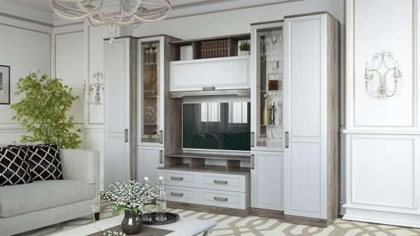 белый шкаф в гостиной в современном стиле с прозрачными дверями