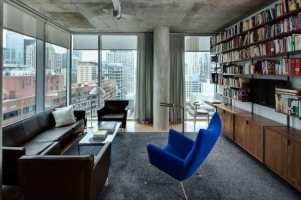 библиотека в гостиной