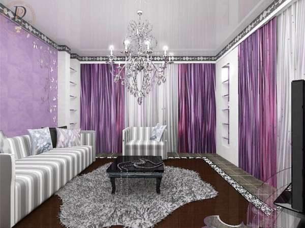 сиреневые шторы в гостиной арт деко