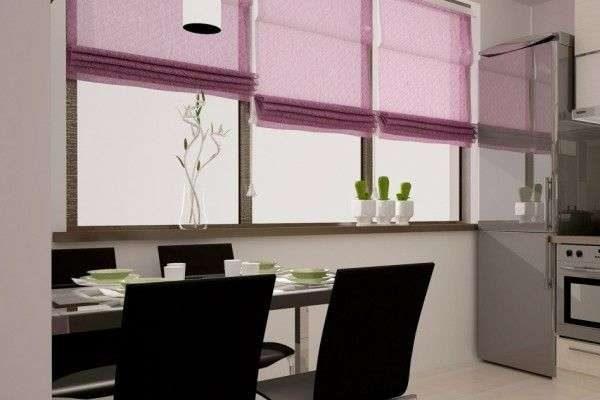 сиреневые шторы жалюзи в интерьере кухни гостиной