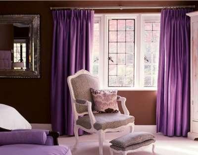 шторы сиреневые в гостиной классика