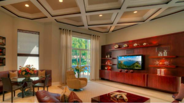 красное дерево для фасадов стенки под телевизор