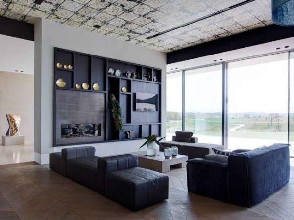стильная тёмная стенка под телевизор в гостиную из дерева