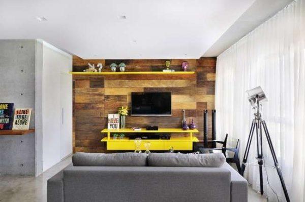 жёлтая стенка под телевизор в гостиную