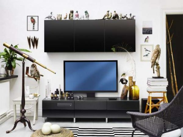 Стенки под телевизор с навесными шкафами