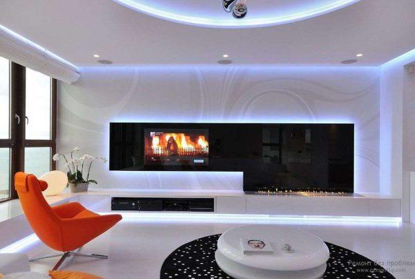 встроенный телевизор в стенку в интерьере гостиной