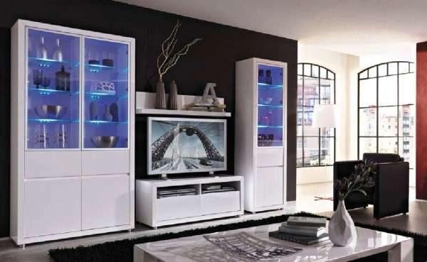 стенка с подсветкой под телевизор в гостиную