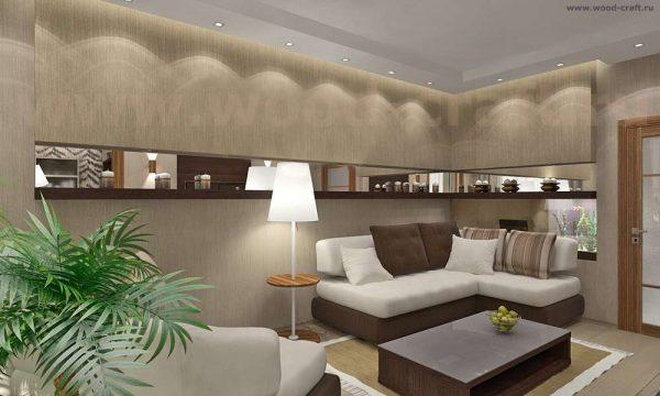 стильная угловая стенка для гостиной серого цвета