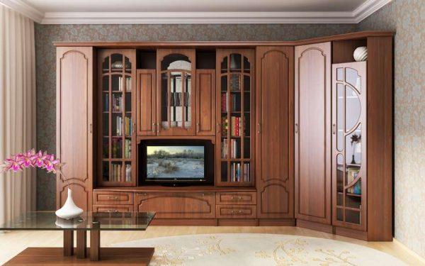 классическая угловая стенка для гостиной