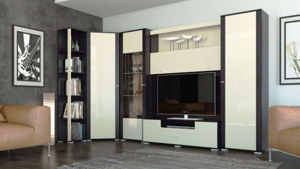 угловая стенка для гостиной с телевизором
