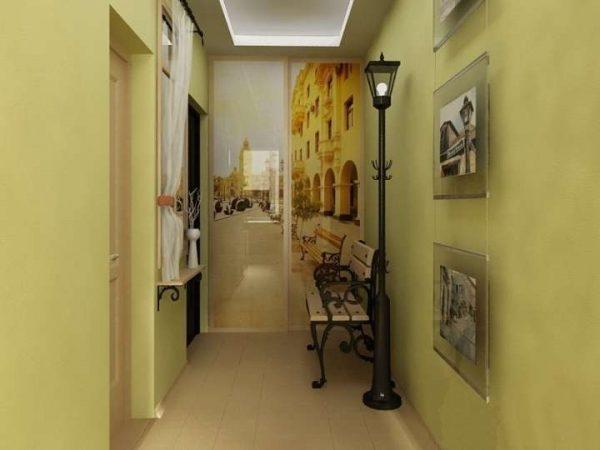 зелёные стены в коридоре панельного дома