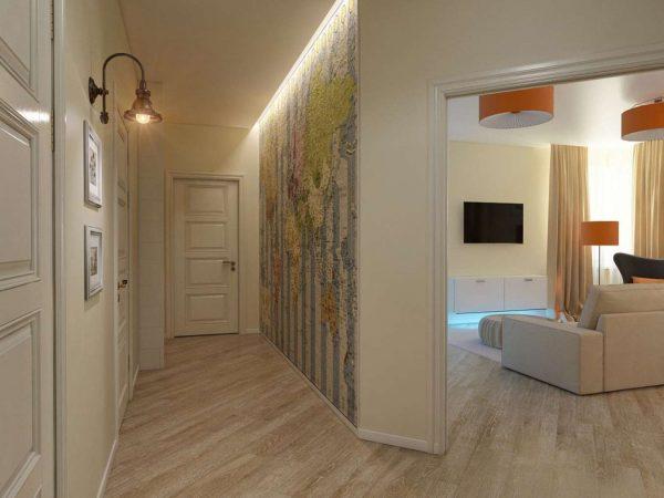 бежевый коридор в коридоре панельного дома