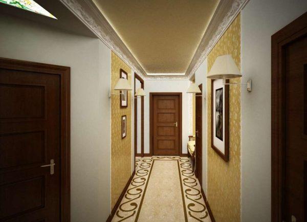 песочный цвет стен в коридоре панельного дома