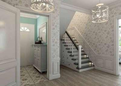 коридор с лестницей в стиле прованс