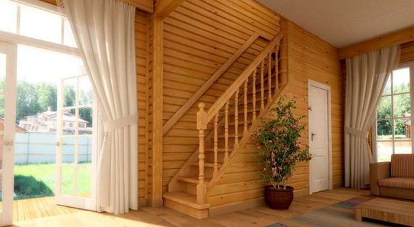 стиль кантри в коридоре с лестницей