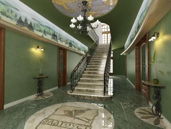 мрамор и дерево в коридоре с лестницей