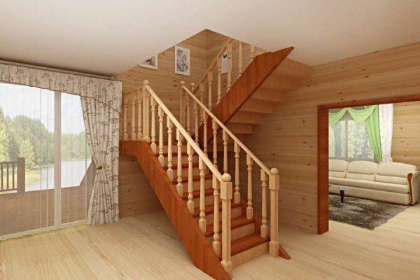 коридор с лестницей в стиле кантри