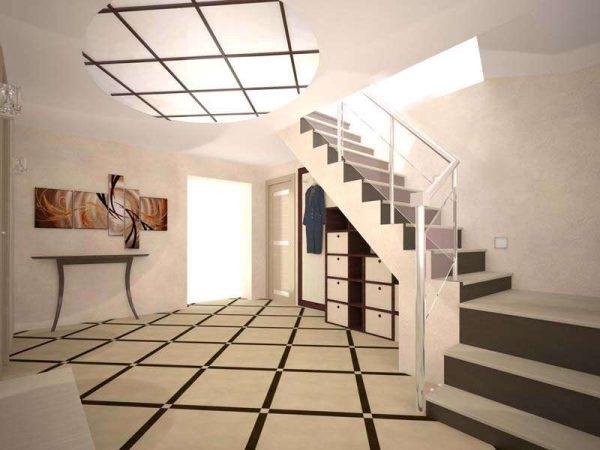 бежевый интерьер коридора с лестницей