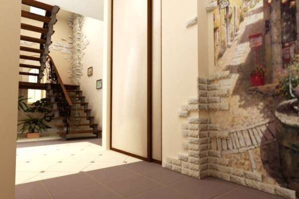 просторный коридор дома с лестницей